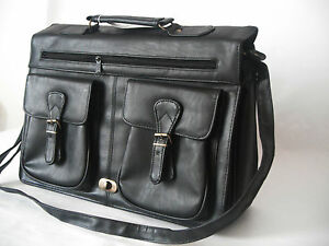 Vintage-Black-Leather-Business-Briefcase-Satchel-Shoulder-Messenger-Man-Bag-New