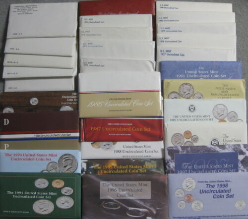 1965 thru 1967 SMS /& 1968 thru 1998 Government Issued Run of 33 Mint Coin Sets