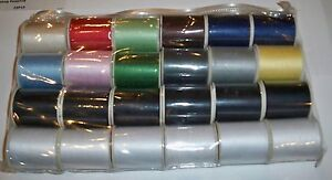 24-Spools-Asstd-Colors-Polyester-Sewing-Thread-Crafts-Quilting-200-Yd-each