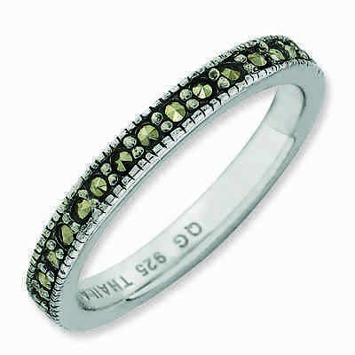Sterling Silver Stackable Expressions Marcasite Ring 3 mm Band, QSK816