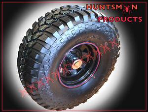 SET-15-034-BLACK-4WD-STEEL-WHEELS-FITTED-TO-MAXXIS-TREPADORE-35-034-MUD-TERRAIN-TYRES