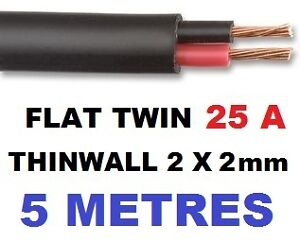 FLAT-TWIN-AUTO-CABLE-2-CORE-2-0mm-25-AMP-CAR-WIRE-5m-AUTOMOTIVE-MULTICORE-WIRE