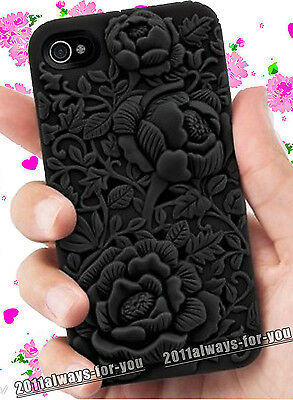 3D Rose Flower Peony Sculpture Design Silicone Case Cover for iPhone 4 4S 4G 4Gs