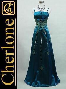 Cherlone-Satin-Dark-Blue-Long-Prom-Ball-Gown-Wedding-Evening-Dress-UK-Size-12-14