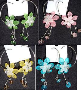 Flower-Floral-Hoop-Earrings-Costume-Fine-Jewelry-Girls-Womens-Ladies-Earings