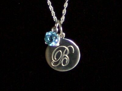 .925 Sterling Silver Engravable Pendant Genuine Blue Topaz Birthstone Necklace