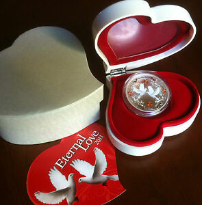 1oz-SILVER-COIN-ETERNAL-LOVE-W-WHITE-DOVES-WEDDING-ANNIVERSARY-MOTHER-DAY-GIFT