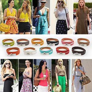 Women-Genuine-Leather-Cusp-Double-Wrap-Chain-Belt-Bangles-Candy-Colors-Bracelet