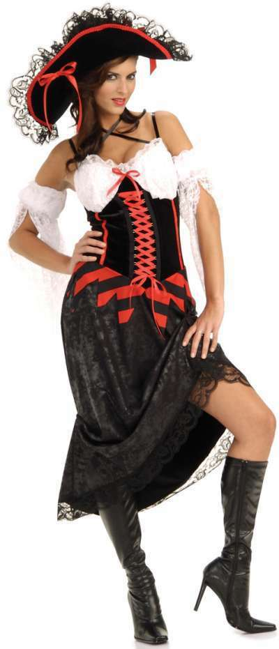 Pirates of the Caribbean - Queen of the Sea Pirate Wench Caribbean Dress Up Halloween Sexy Adult Costume