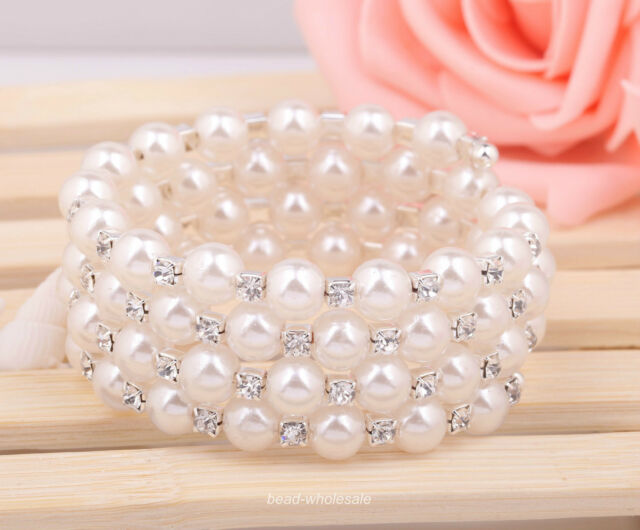 1pc Lady Gril White Pearl Crystal Open Bangle Bracelet For Wedding Party 4Row