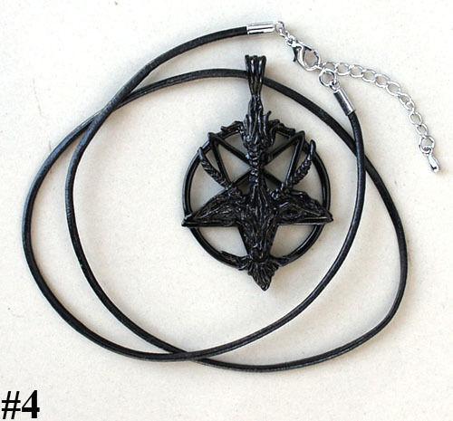 Black Goat Laveyan Baphomet Invert Pentacle Pentagram Pagan Wicca Pewter Pendant