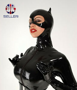Black-catsuit-cat-hood-costume-catwoman-fancy-dress-shiny-pvc-latex-rubber-mask