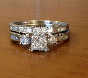 10k white gold princess cut round diamonds engagement bridal set image is loading 10k white gold princess cut round diamonds engagement junglespirit Gallery