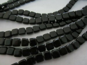 Jet-Black-Flat-Square-two-hole-Czech-Tile-Beads-6mm-30pc