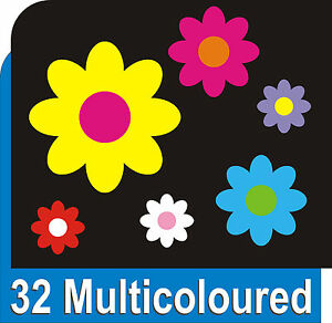 32-MULTICOLOURED-DAISY-Flower-Decals-Car-Stickers-Graphics-Bedroom-Wall-Art
