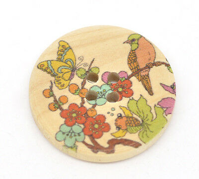 5 Exquisite Japanese Style Painted Wooden Buttons 30mm