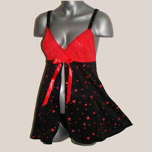 Plus-Size-Lingerie-Size-1X-2X-or-3X-Black-and-Red-Heart-Babydoll-3023X