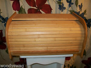 Image Is Loading Roll Top Bread Box Kitchen Wood Breadbox Vintage