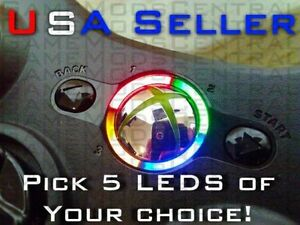 XBOX-360-PS3-CONTROLLER-RING-OF-LIGHT-MOD-KIT-5-LEDS-YOU-PICK-YOUR-COLORS