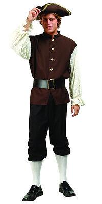 ADULT COLONIAL MENS COSTUME JOHN ADAMS US HISTORY PLAY W/ TRI-CORNER HAT BROWN