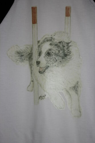 Weaves Agility Dogs T-Shirts Collies and German Shepherd Jumps and Tunnel