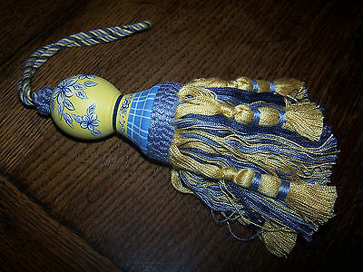 Shabby Chic French Country Tassel Tassle Hand Painted Blue Gold Yellow-Curtains