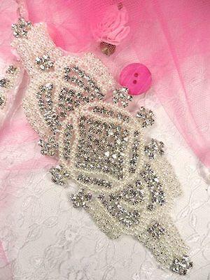 XR89 Rhinestone Applique Silver Pearl Beaded Crystal  Bridal Motif Crafts Sewing