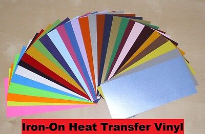 """IRON-ON Heat Transfer Vinyl  -   6"""" x 12"""" Sheet for ALL Cutting Machines"""