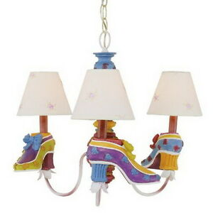multi colored shoes 3 light chandelier with shades ebay. Black Bedroom Furniture Sets. Home Design Ideas