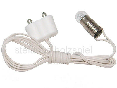 Fassung E5,5 an Kabel+Stecker für 3,5V Puppenhausbeleuchtung, Puppenhaus-Lampe