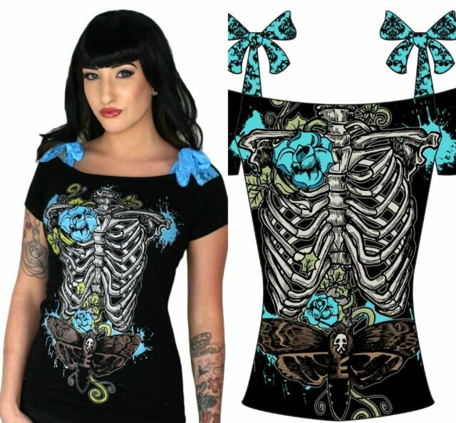 TOO FAST GOTHIC PUNK EMO ROCKABILLY ANNABEL SKELETON PIN UP ZOMBIE SKULL SHIRT