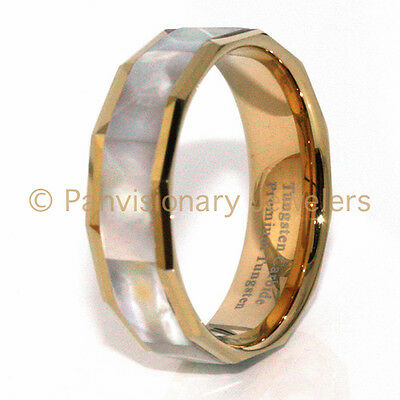 Gold MOP Tungsten Carbide Ring Mother of Pearl Abalone Shell Inlay IP 8MM