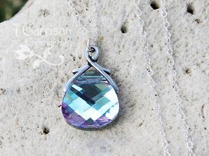 Vitrail Light briolette necklace, sterling silver chain - blue, pink & purple