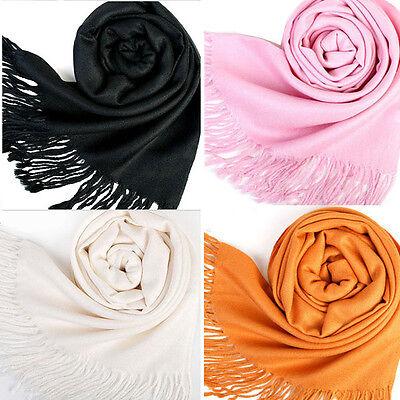 Koren Women Long Soft Shawl Wrap Pure Scarf  Wool Blends Multicolor Warm Tassels