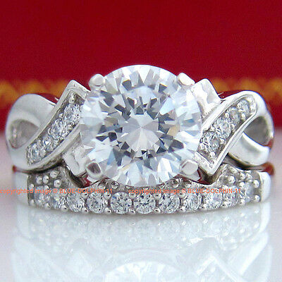 Genuine Real Solid 9K White Gold Engagement Wedding Rings Set Simulated Diamonds