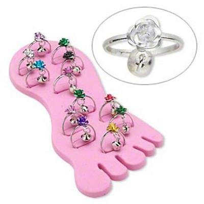 12 flower & bell toe rings and display wholesale lot