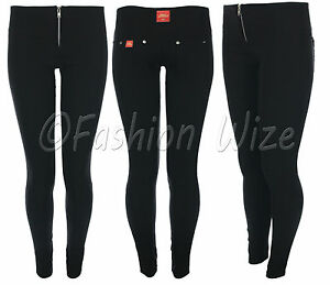 Girls-School-Trousers-Sizes-4-6-8-10-12-14-Silver-Zip-Super-Skinny-Black-Hipster