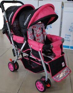 BeBeLove-425-Twins-Double-Tandem-Stroller-in-Pink-Black-NEW