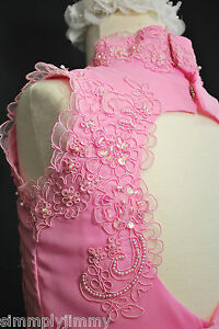 Children-Girl-Evening-Gown-National-Pageant-Wedding-Dress-Pink-Sz-5-6-7-12-14