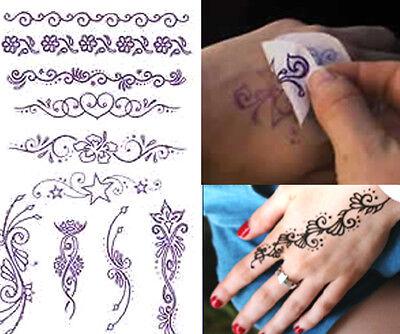 TEMPORARY TATTOO ETHNIC STYLE KIT Black Jagua Henna Pre Printed Designs TVJ*