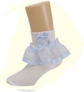 NEW-Hip-Hop-Organza-Ruffle-Pageant-Lilac-Light-Blue-Flower-Girl-Socks