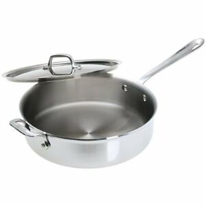 All-Clad-5-ply-Brushed-Stainless-Professional-4-Quart-Saute-pan-with-Lid-D55404