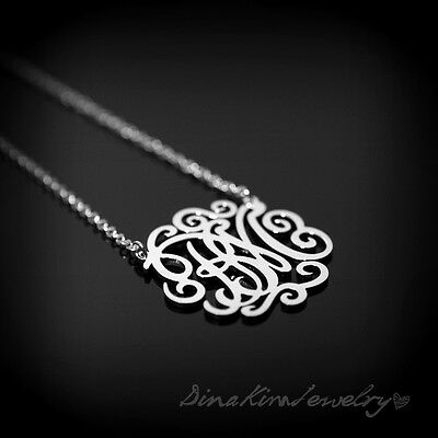 """Personalized Jewelry Silver 925 Monogram 2 Initials Couple Name Necklace 1.25"""""""