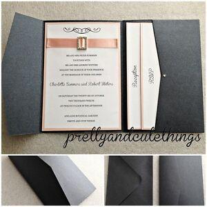 BLACK METALLIC WEDDING INVITATIONS DIY POCKET CARDS ENVELOPES FOLDER INVITES