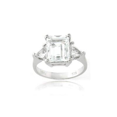 925 Silver 3ct White Topaz Emerald & Trillion Cut Ring
