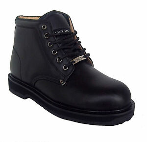 Vegace 9008 Mens Black Leather Non Slip Steel Toe Work Boots | eBay
