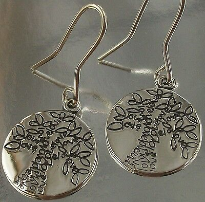 Sterling Silver 925 round Love Tree of Life Design Hook Earrings oxidised