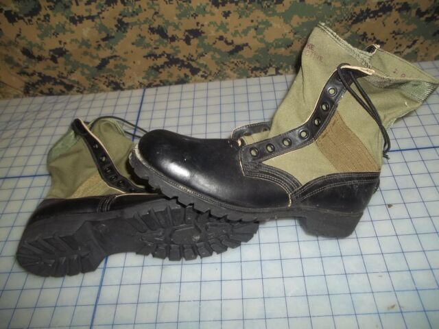 US dated 67 military size 9 narrow jungle boots Vietnam NOS black green canvas