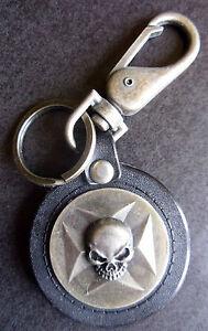 New-Metal-Spiral-Genuine-Leather-Key-Chain-Bottle-Opener-Chopper-Cross-Skull