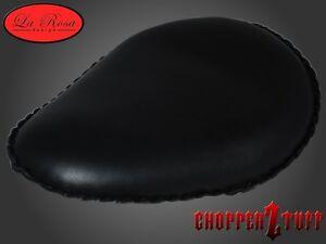 Black-Leather-Harley-Sportster-amp-Softail-Chopper-Bobber-Custom-13-034-Solo-Seat